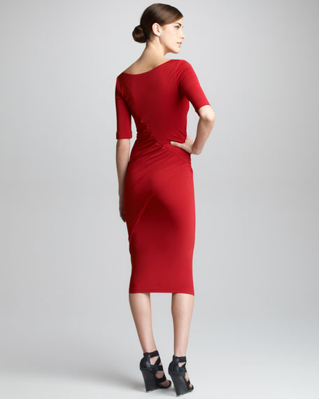 Half-Sleeve Draped Jersey Dress