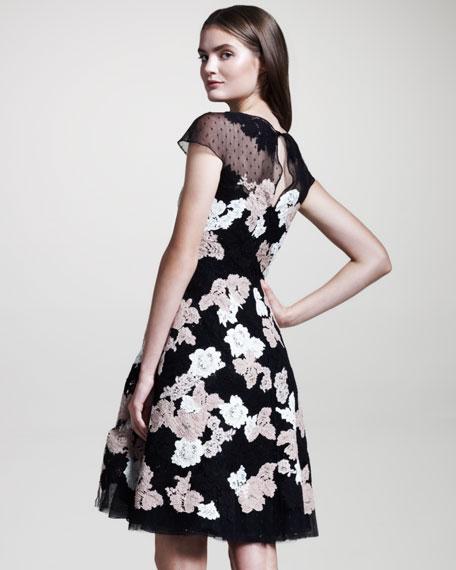 Valentino Floral-Lace Point d'Esprit Dress