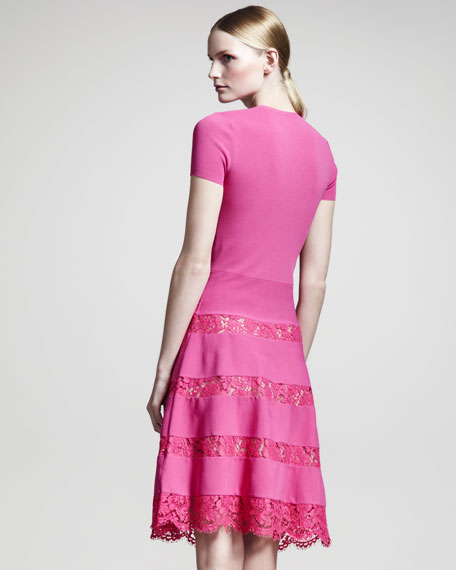 Lace-Skirt Short-Sleeve Dress