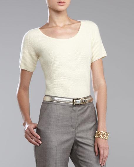 Metallic Napa Leather Belt, Soft Gold