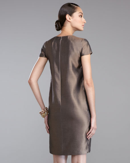 Taffeta Cap-Sleeve Dress, Dark Bisque