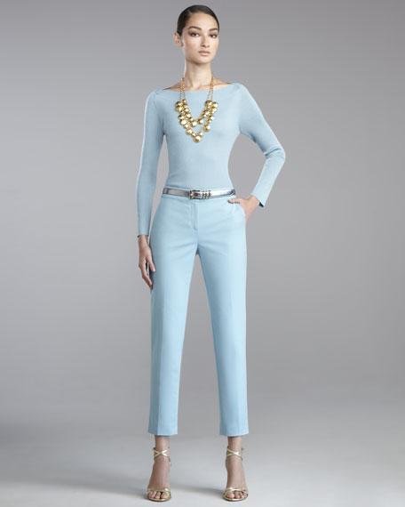 Emma Marocain Cropped Pants, Blue Topaz