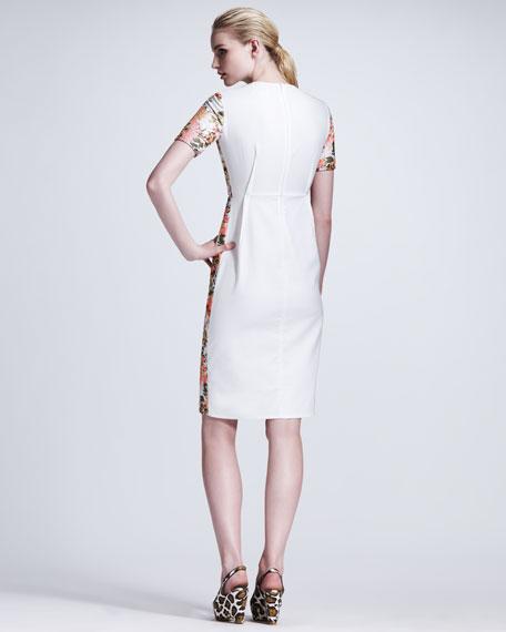 Floral-Front Short-Sleeve Dress