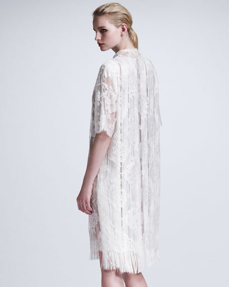 Fringed Floral Lace Dress, Off White