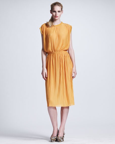 Plisse Jersey Shift Dress