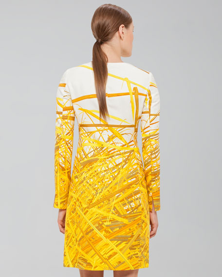 Reed-Print Double-Face Coat, Pollen