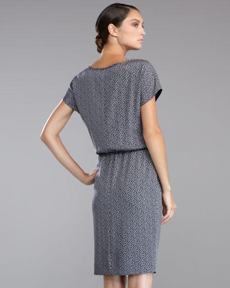 Dot-Print Crepe de Chine Dress