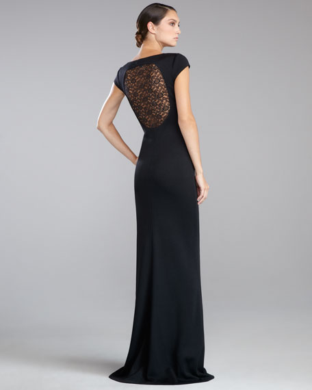 Shimmer Milano Knit Lace-Back Gown