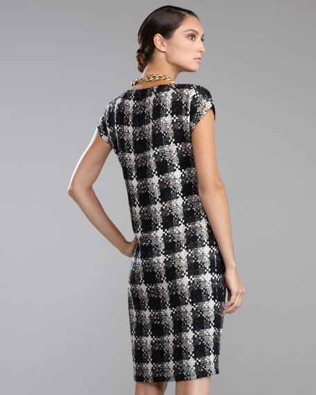 Macro Plaid Shift Dress