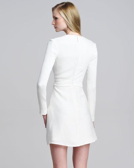 Faille Crepe V-Neck Dress