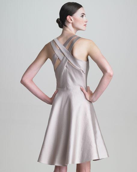 Cross-Back Gazar Dress