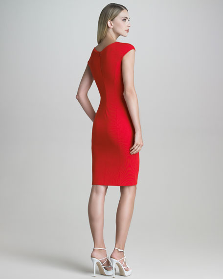 Contrast-Panel Milano Jersey Sheath Dress