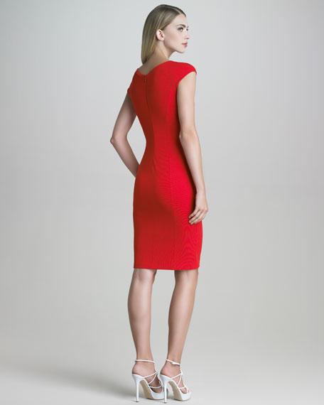 Contrast-Panel Milano Jersey Sheath Dress
