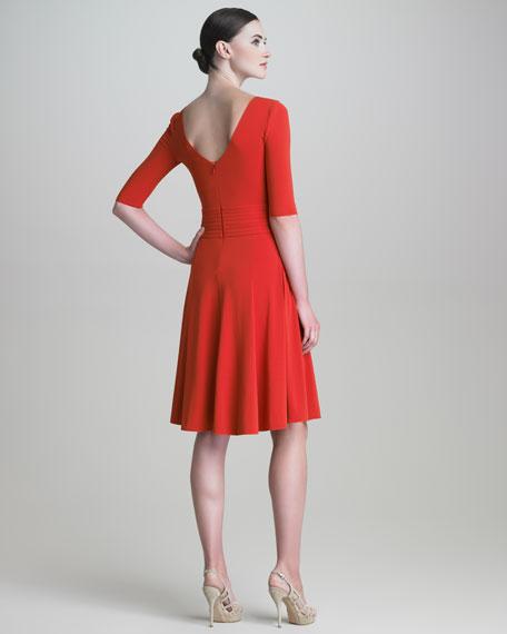 Scoop-Neck Half-Sleeve Dress
