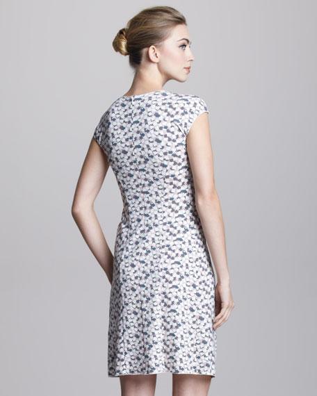 Cap-Sleeve Petal Jersey Dress