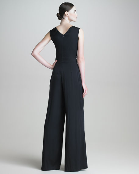 Wide-Leg Stretch-Silk Jumpsuit