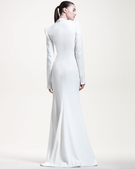 Gown with Satin Drape Collar
