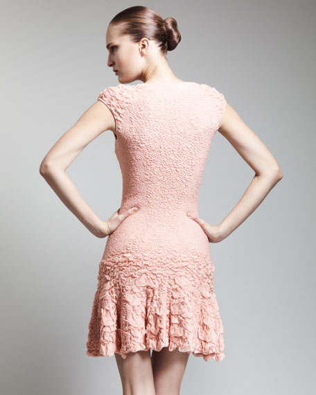 Pucker-Knit Cap-Sleeve Flounce Dress, Blush