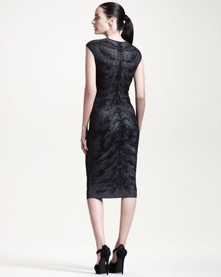 Cap-Sleeve Dragonfly-Knit Dress, Black