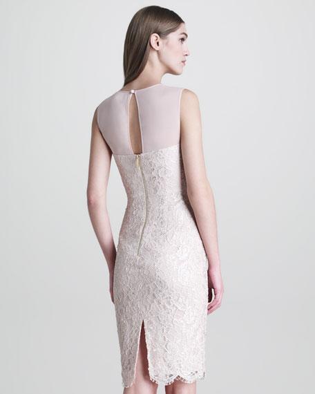 Sleeveless Lace Peplum-Front Dress