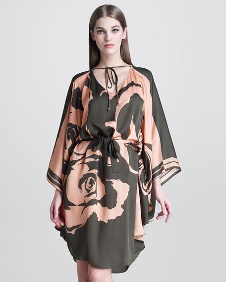 Caftan-Style Rose-Print Dress