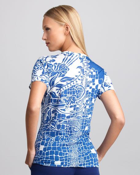 Printed V-Neck Tee, Blue/White