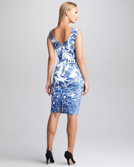 Printed Twill Sheath Dress, Blue/White