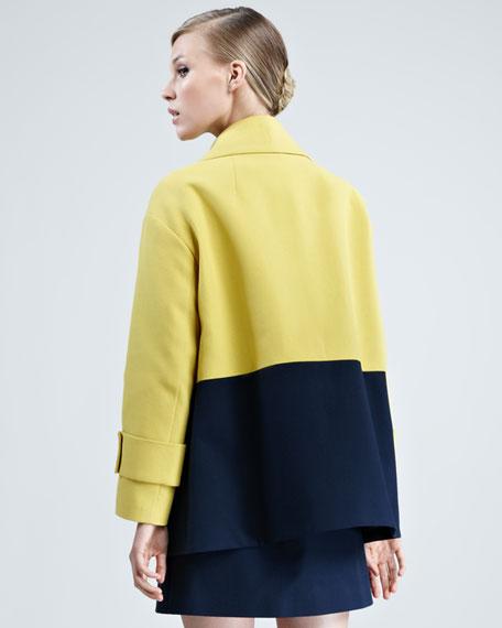 Colorblock Pique-Knit Coat