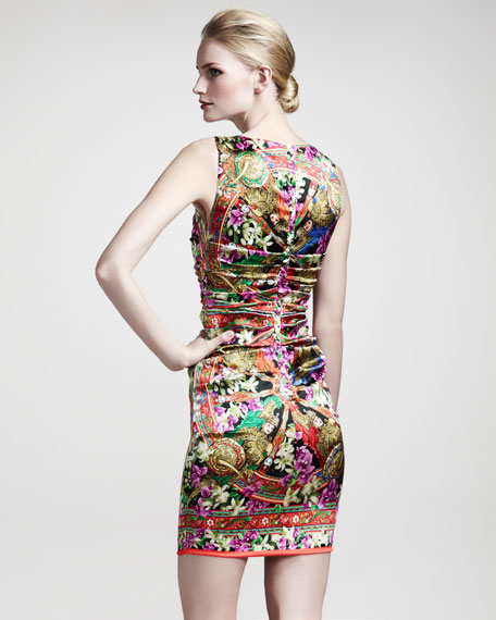 Printed Stretch-Satin Dress
