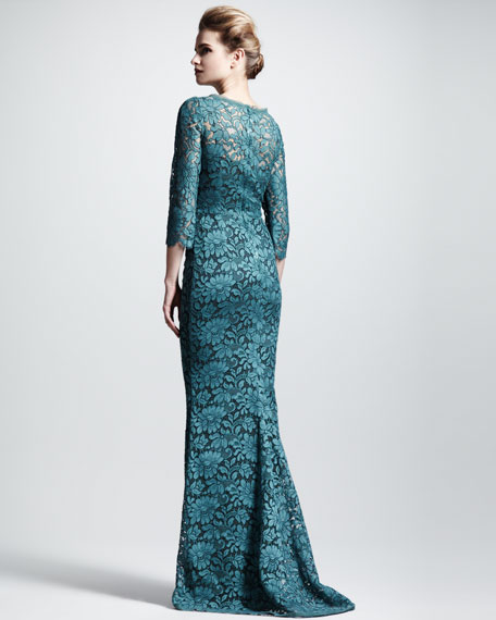 Square-Neck Lace Gown