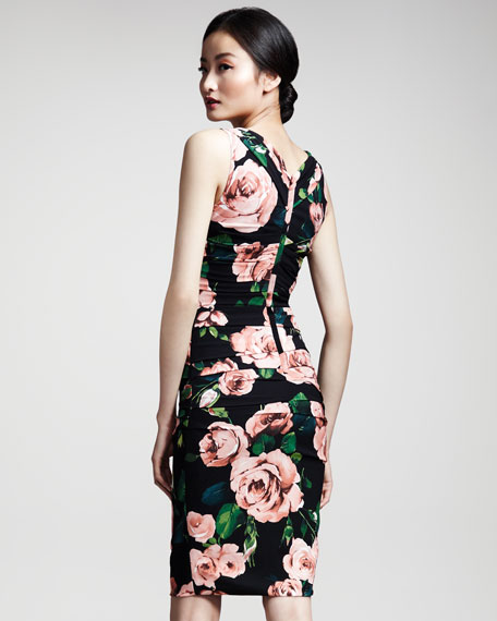 Rose-Print Ruched Dress