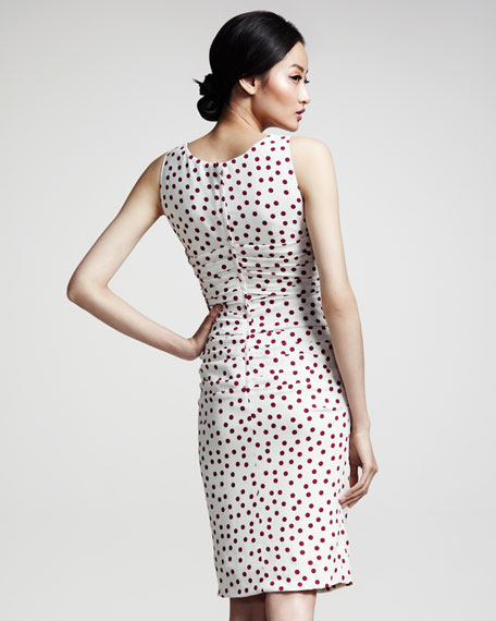 Polka-Dot Ruched Dress