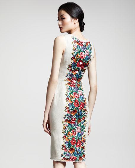 Floral-Print Linen Dress