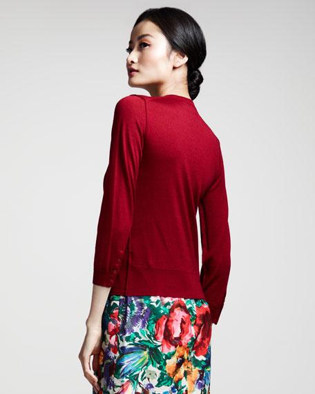 Cropped Silk-Cashmere Cardigan
