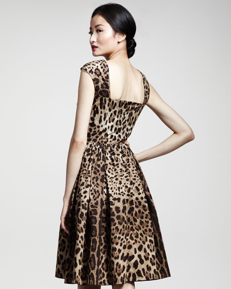 Full-Skirted Leopard-Print Dress