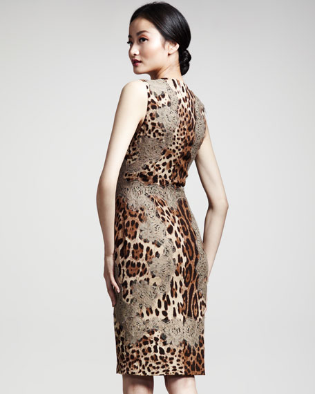 Lace-Trim Leopard-Print Dress