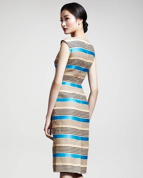 Striped Cap-Sleeve Dress