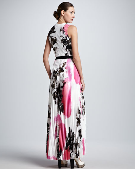 Printed Half-Tab Pleated Maxi Dress