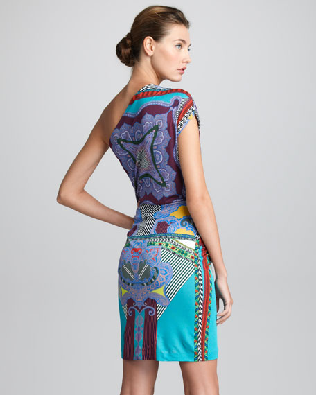 Printed One-Shoulder Dress