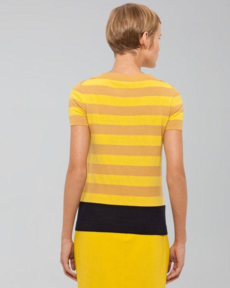 Striped Wool Sweater, Citron/Marine