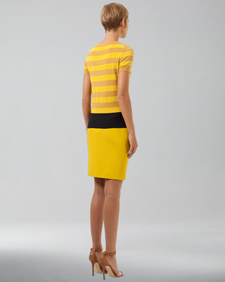 Jersey Pencil Skirt, Citron
