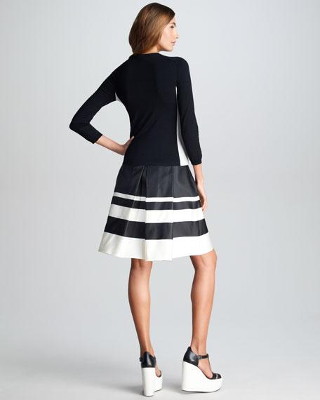 Striped Border Silk Skirt