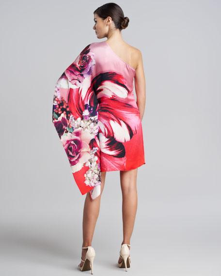 One-Shoulder Draped Floral Dress