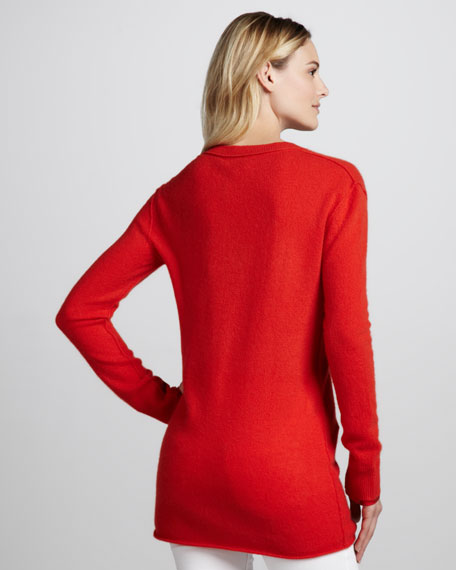 Cashmere V Neck Tunic, Orange Red