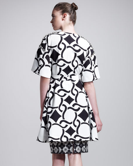 Geometric Chain-Print Tie-Waist Coat