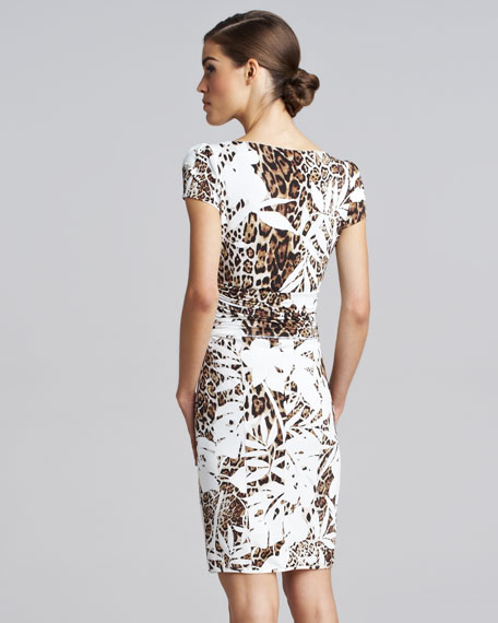 Short-Sleeve Ruched Animal-Print Dress