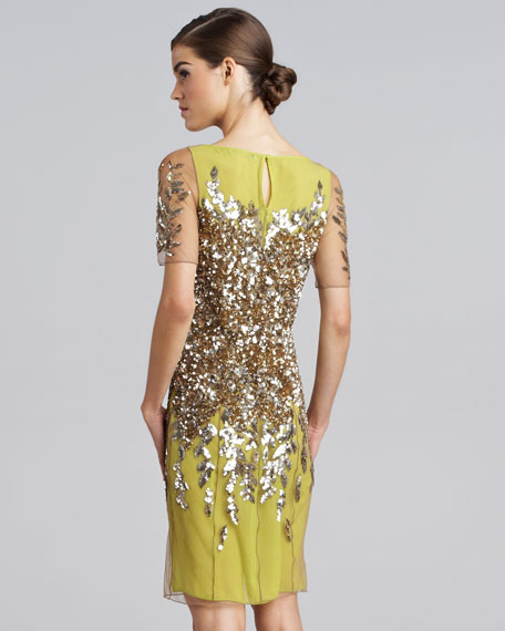 Sequined Short-Sleeve Cocktail Dress, Lime