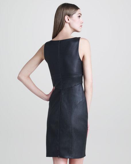 Narciso Rodriguez Stretch-Leather V-Neck Dress