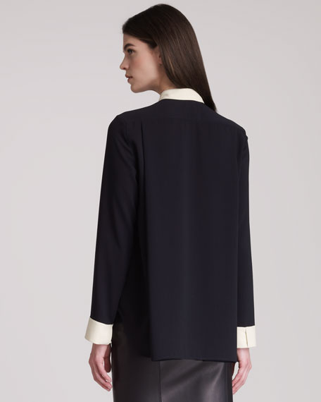 Long-Sleeve Blouse With Colorblocked Cuffs