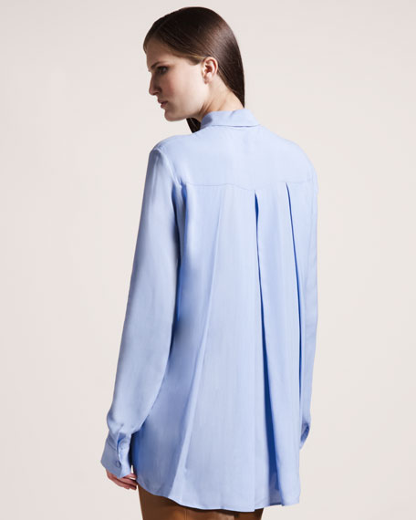 Twill Blouse, Powder Blue